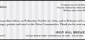 Iron Hill Give 20 to Orion Communities